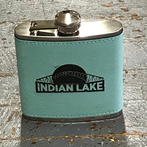 Indian Lake Nautical Bridge Stainless Steel 6oz Flask Teal Leather