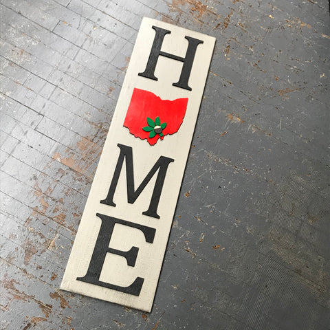 Ohio Buckeye State Dimensional Wooden Sign Farmhouse Rustic HOME Vertical