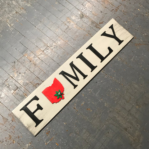 Ohio Buckeye State Dimensional Wooden Sign Farmhouse Rustic FAMILY Horizontal