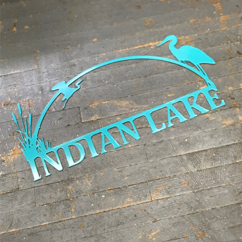 Indian Lake Heron Bird Aqua Teal Metal Sign Wall Hanger