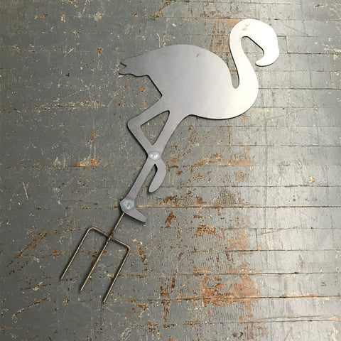 Flamingo Bird Metal Yard Stake Sign