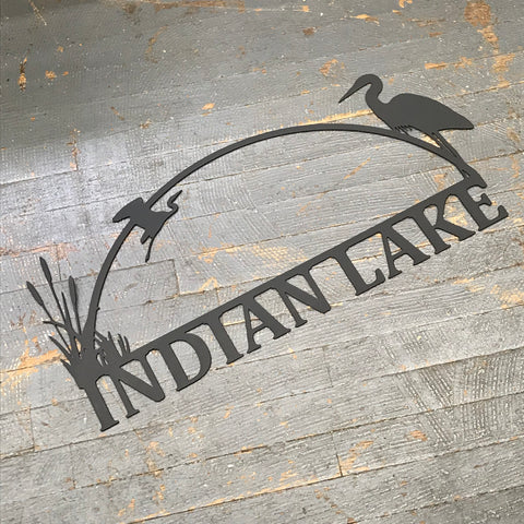 Indian Lake Heron Bird Black Metal Sign Wall Hanger