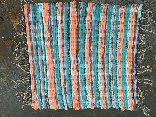 #9 Peach Aqua Rag Weaved Table Runner Rug by Dennis
