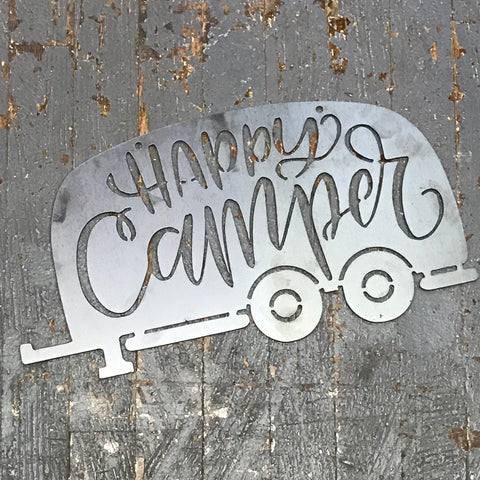 Happy Camper Travel Trailer Metal Sign Wall Hanger