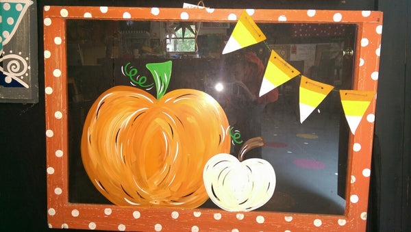 Window Painting at The Depot Fall Pumpkin