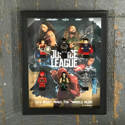 Justice League Comic Lego Figurine Wall Display Picture Frame Toy Art