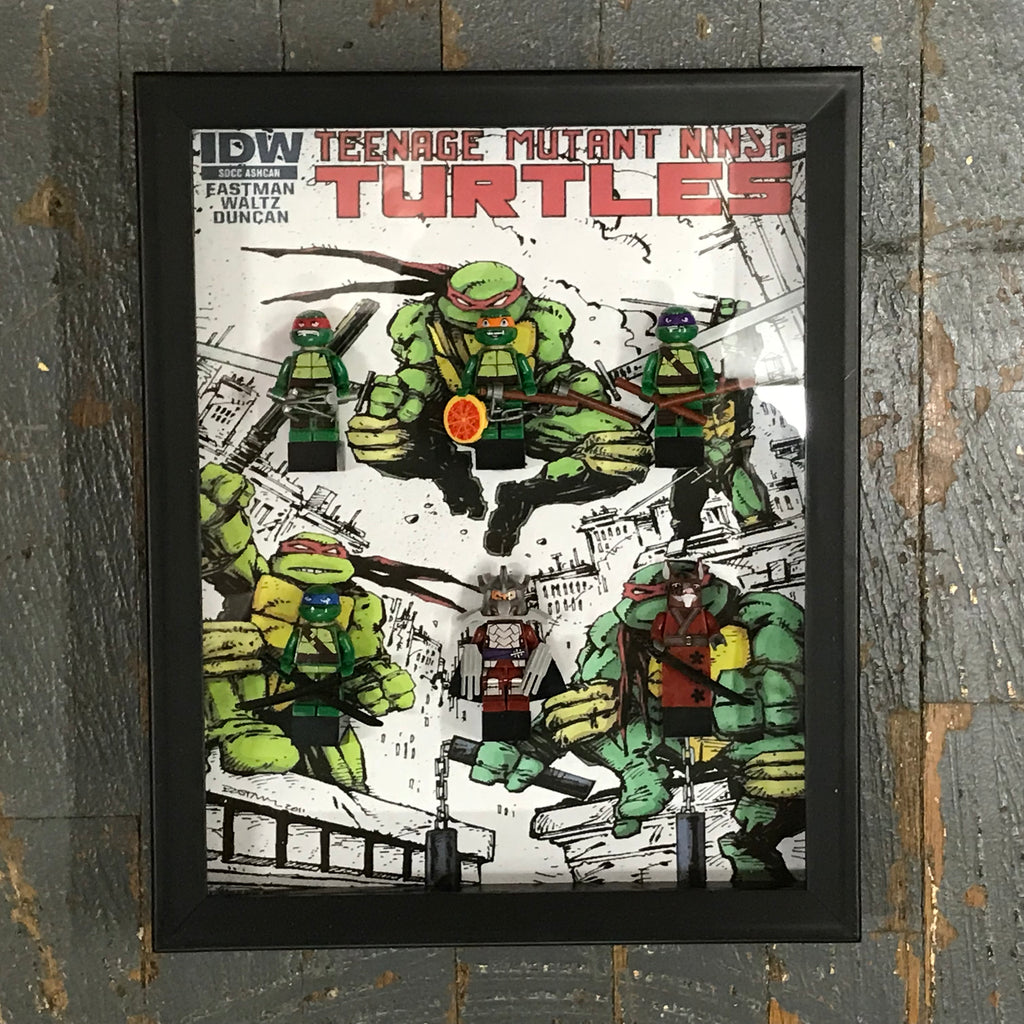 Teenage Mutant Ninja Turtles Lego Figurine Wall Display Picture Frame Toy Art