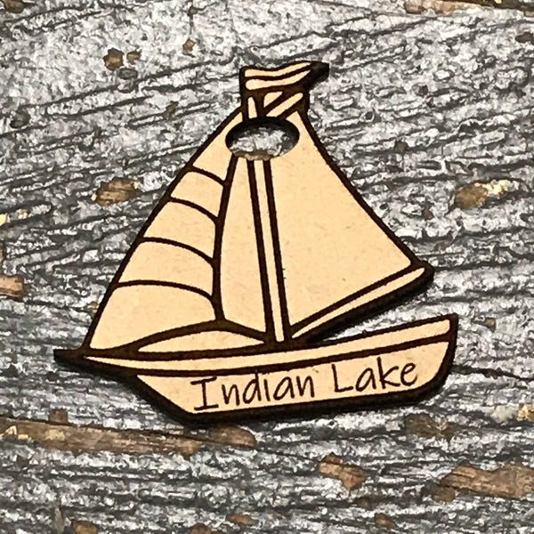 Indian Lake Sailboat Wood Engraved Holiday Christmas Tree Ornament Key Chain