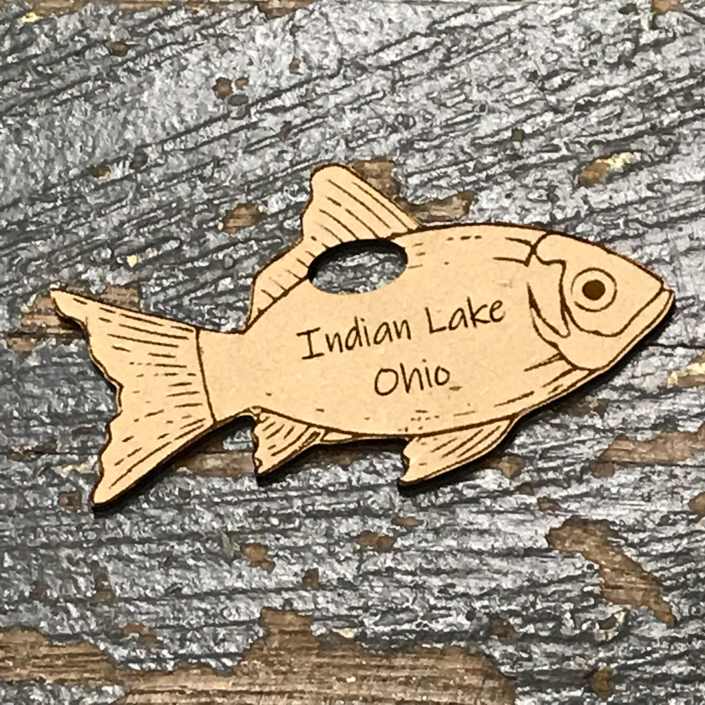 Indian Lake Ohio Fish Wood Engraved Holiday Christmas Tree Ornament Key Chain