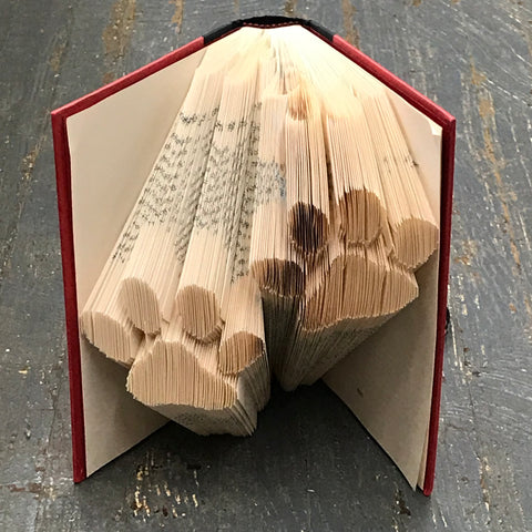 Folded Book Art Custom Folded Pages Hardback Book Animal Paw Prints