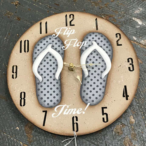 "9"" Round Beach Wooden Flip Flop Clock Painted Grey Polka Dot"