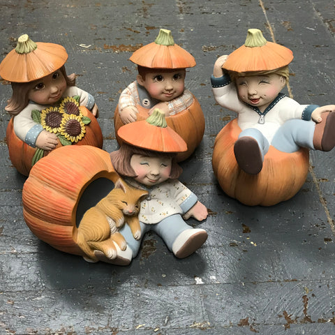 Ceramic Pumpkin Head Kids Set of 4 Table Top Decor Display