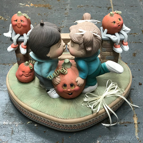 Ceramic Pumpkin Noggin Kissing Kids Table Top Decor Display