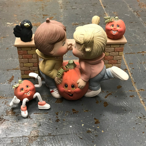 Ceramic Pumpkin Noggin Kissing Kids Table Top Decor Set