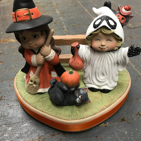 Ceramic Trick or Treat Witch Ghost Kids Table Top Decor Display