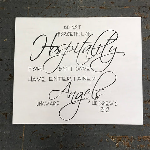 Hand Painted Wooden Sign Hospitality Hebrews 13:2