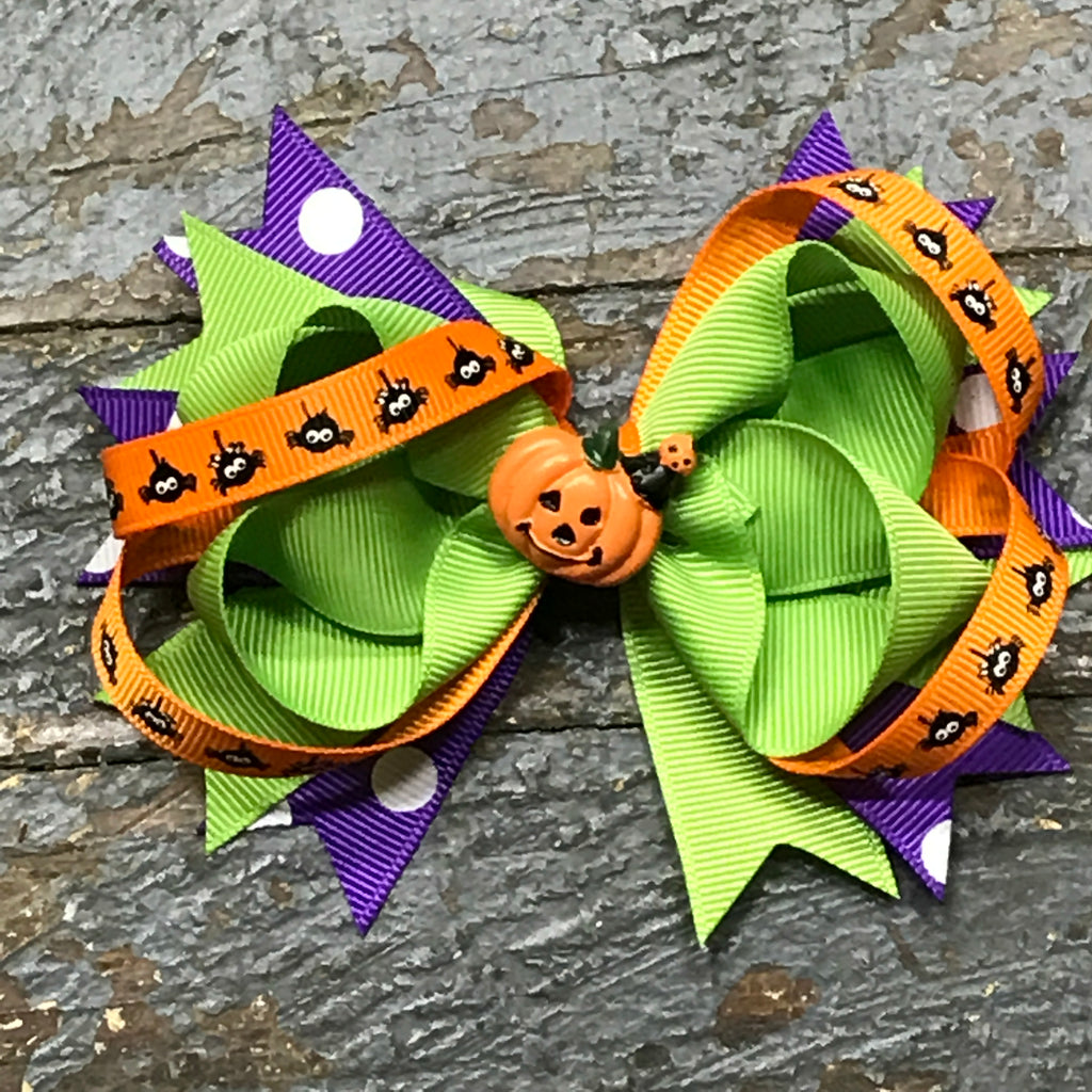 Hair Clip Ribbon Headband Bow Holiday Halloween Spider Pumpkin