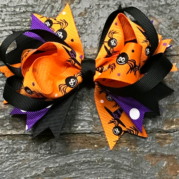 Hair Clip Ribbon Headband Bow Holiday Halloween Spider Orange
