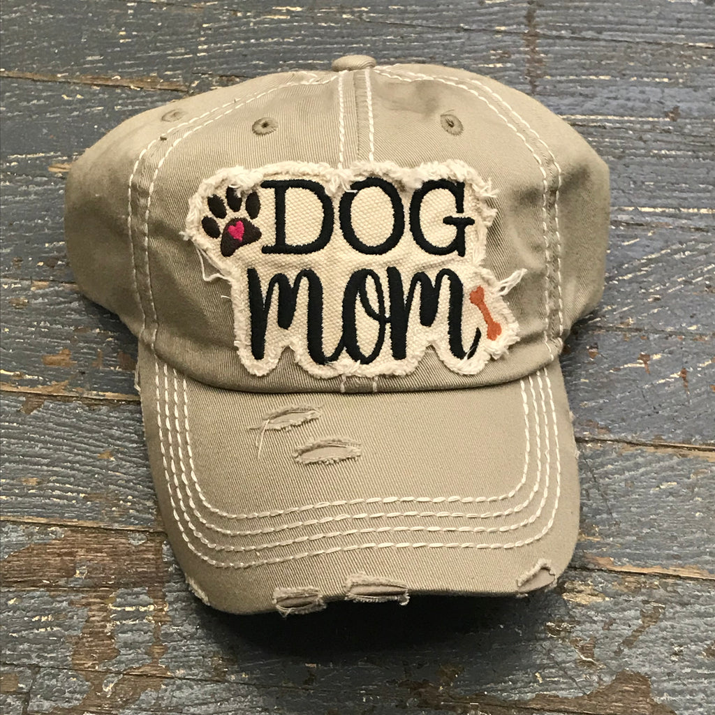 Dog Mom Hat Khaki Embroidered Ball Cap