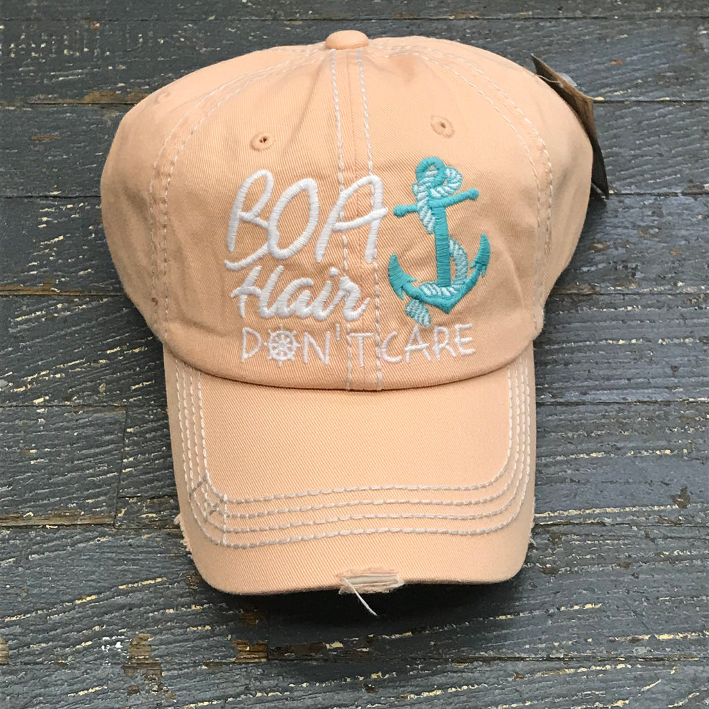 Boat Hair Don't Care Hat Peach Embroidered Ball Cap