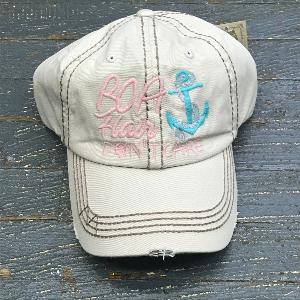 Boat Hair Don't Care Hat Khaki Embroidered Ball Cap