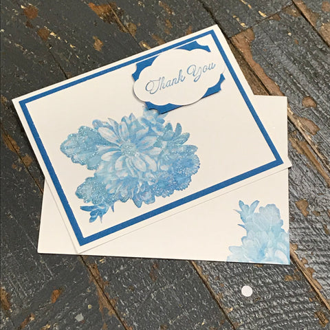 Thank You Blue Flower Handmade Stampin Up Greeting Note Card with Envelope