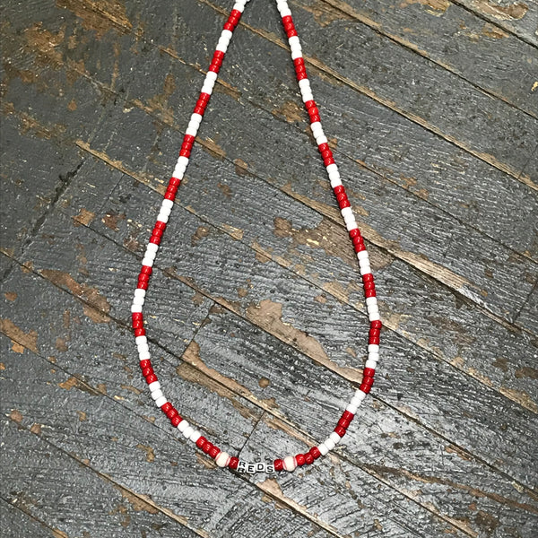 Handmade Beaded Necklace Baseball Cincinnati Reds