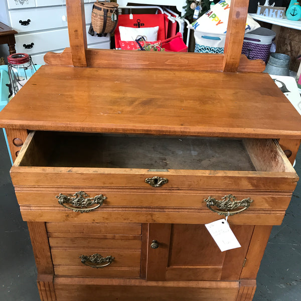 Antique Vintage Wooden Washstand Table