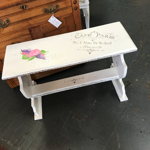 Hand Painted Wooden Paris Bench Side Lamp End Table