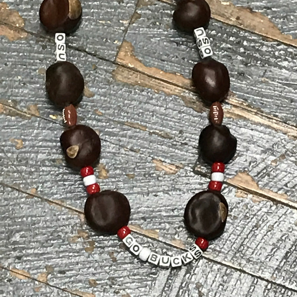 Handmade Beaded Necklace Football OSU Ohio State Buckeyes