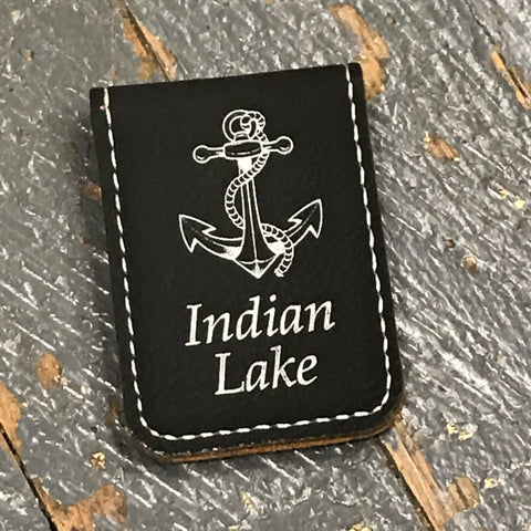 Engraved Leather Money Clip Indian Lake
