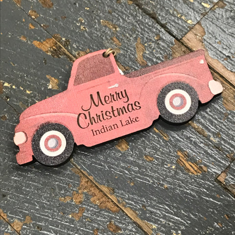 Indian Lake Red Truck Wooden Christmas Ornament