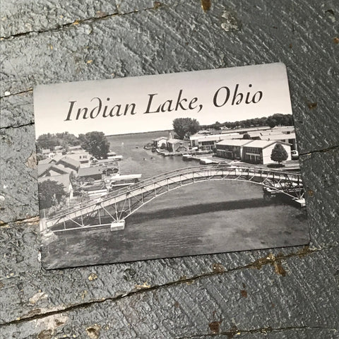 Indian Lake Ohio Russells Point Bridge Black White Magnet Kevin Campbell
