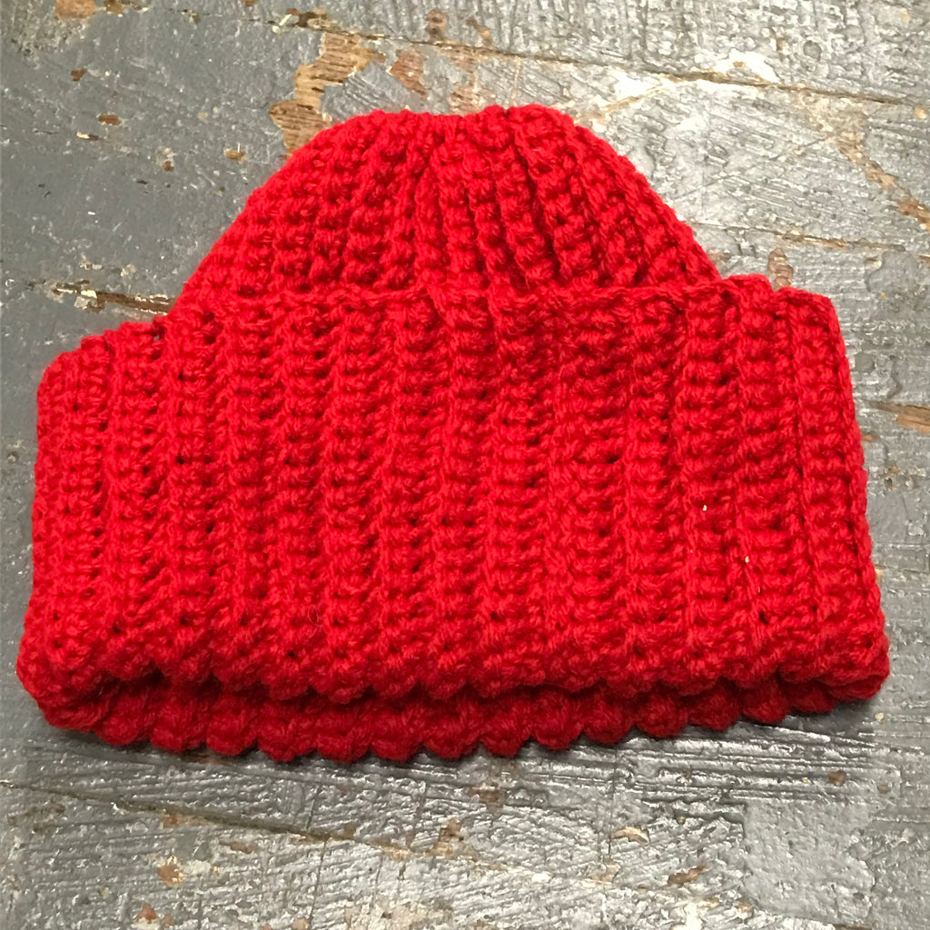 Crocheted Pony Tail Hole Beanie Winter Hat Cap Red Fold