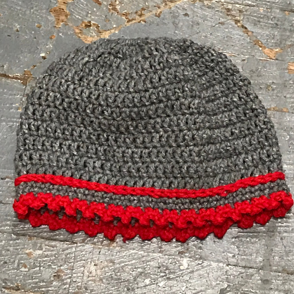 Crocheted Pony Tail Hole Beanie Winter Hat Cap Grey Red Pin Stripe Ruffle