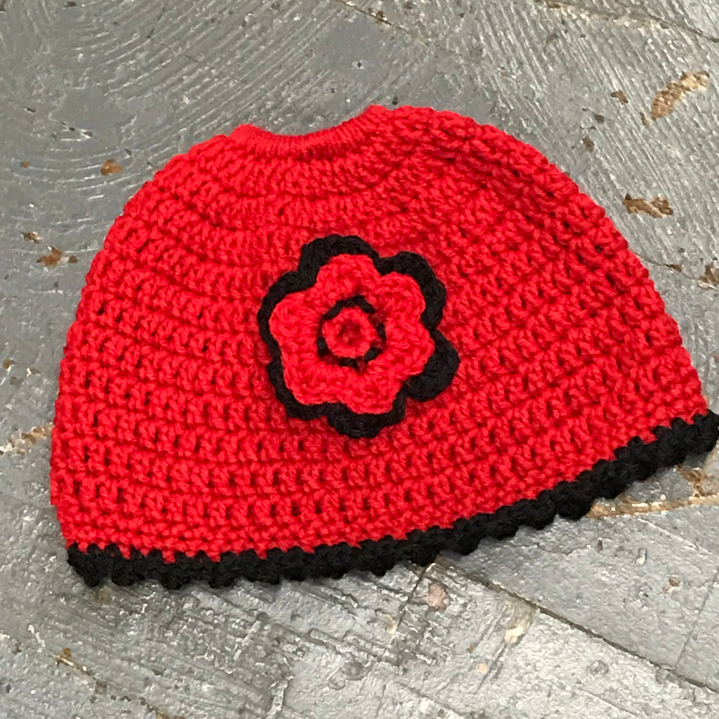 Crocheted Pony Tail Hole Beanie Winter Hat Cap Red with Multi Red Black Flower