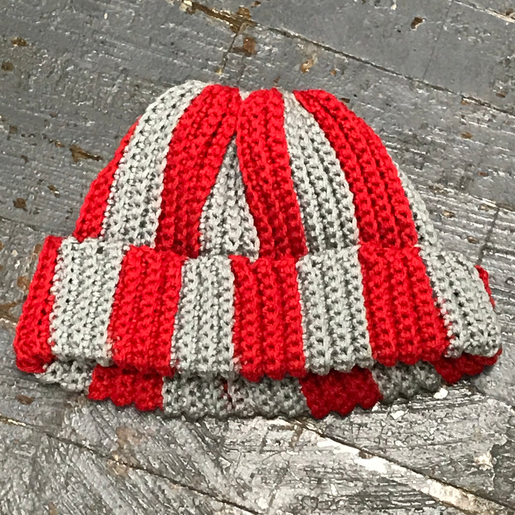 Crocheted Pony Tail Hole Beanie Winter Hat Cap Grey Red Stripe Vertical Stripe Fold