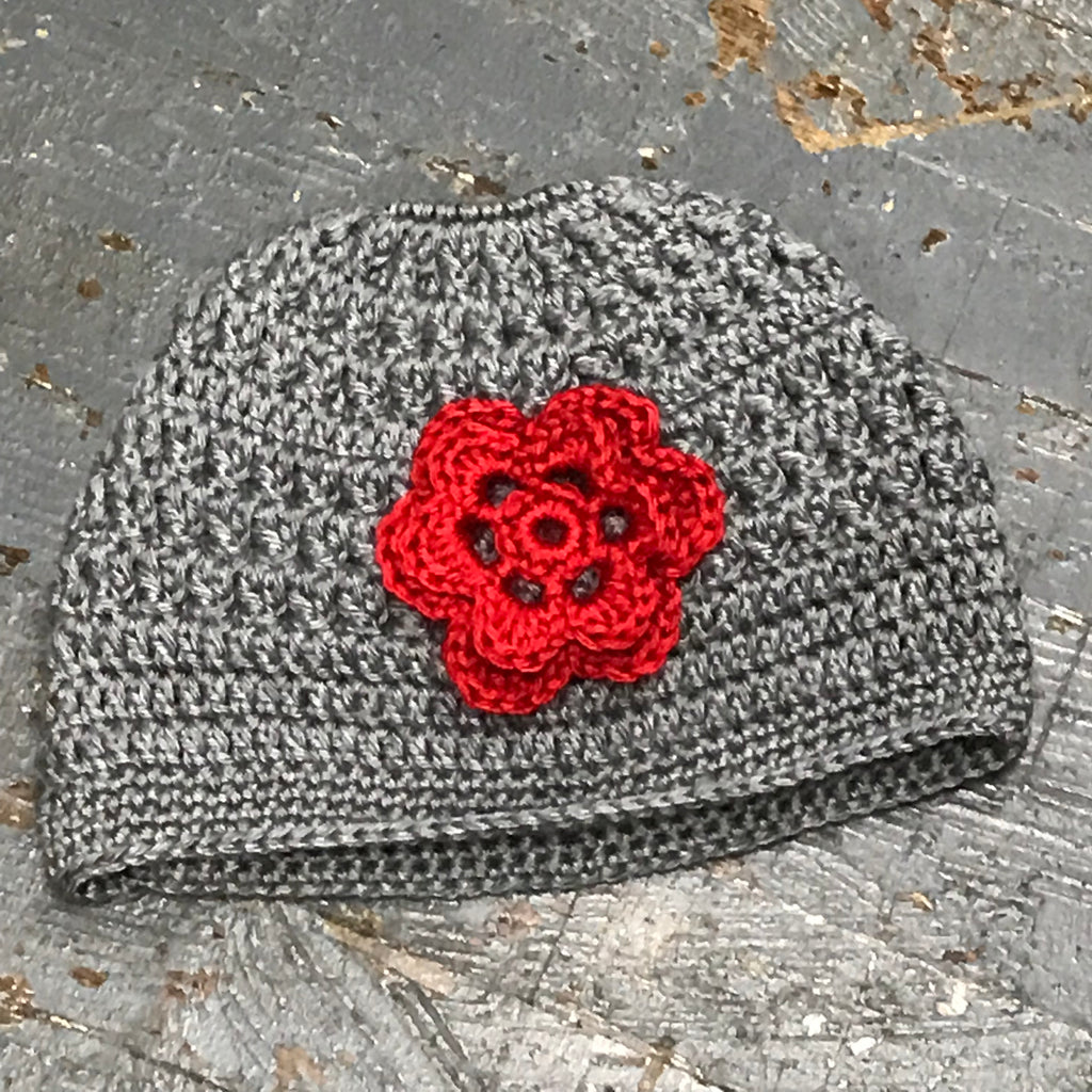 Crocheted Pony Tail Hole Beanie Winter Hat Cap Grey Red Flower