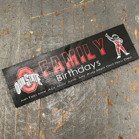Family Birthday Celebration Calendar Board Hand Painted Wooden Ohio State Buckeyes Sign