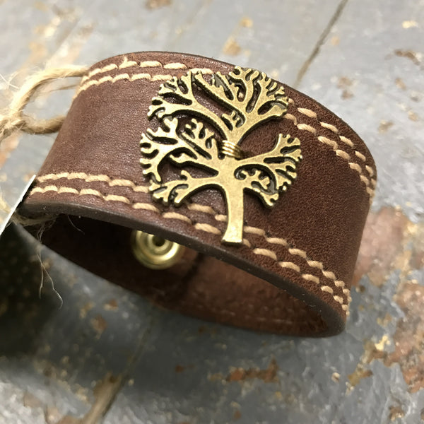 Brown Leather Belt Snap Bracelet Family Tree Embellishment