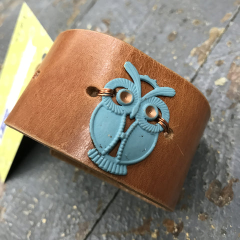 Brown Leather Belt Snap Bracelet Painted Blue Owl Embellishment