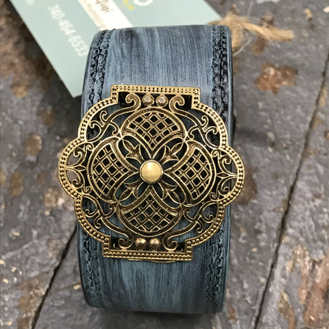 Brown Leather Painted Blue Belt Snap Bracelet Gold Embellishment