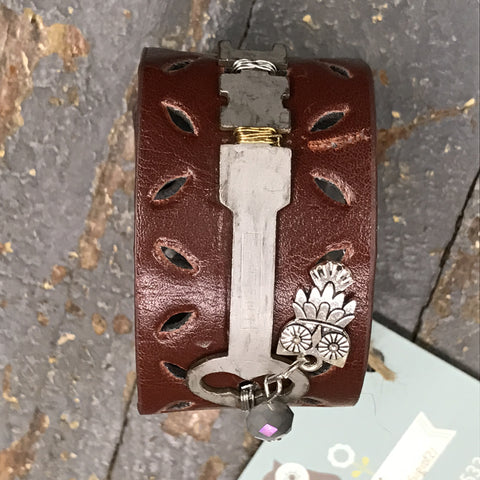 Maroon Leather Braid Belt Snap Bracelet Metal Key Own Embellishment