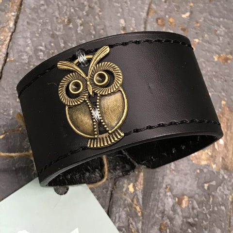 Black Leather Belt Snap Bracelet Antique Brass Owl Embellishment