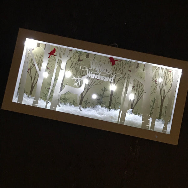 Lighted Framed Shadow Box Winter Wonderland Forest