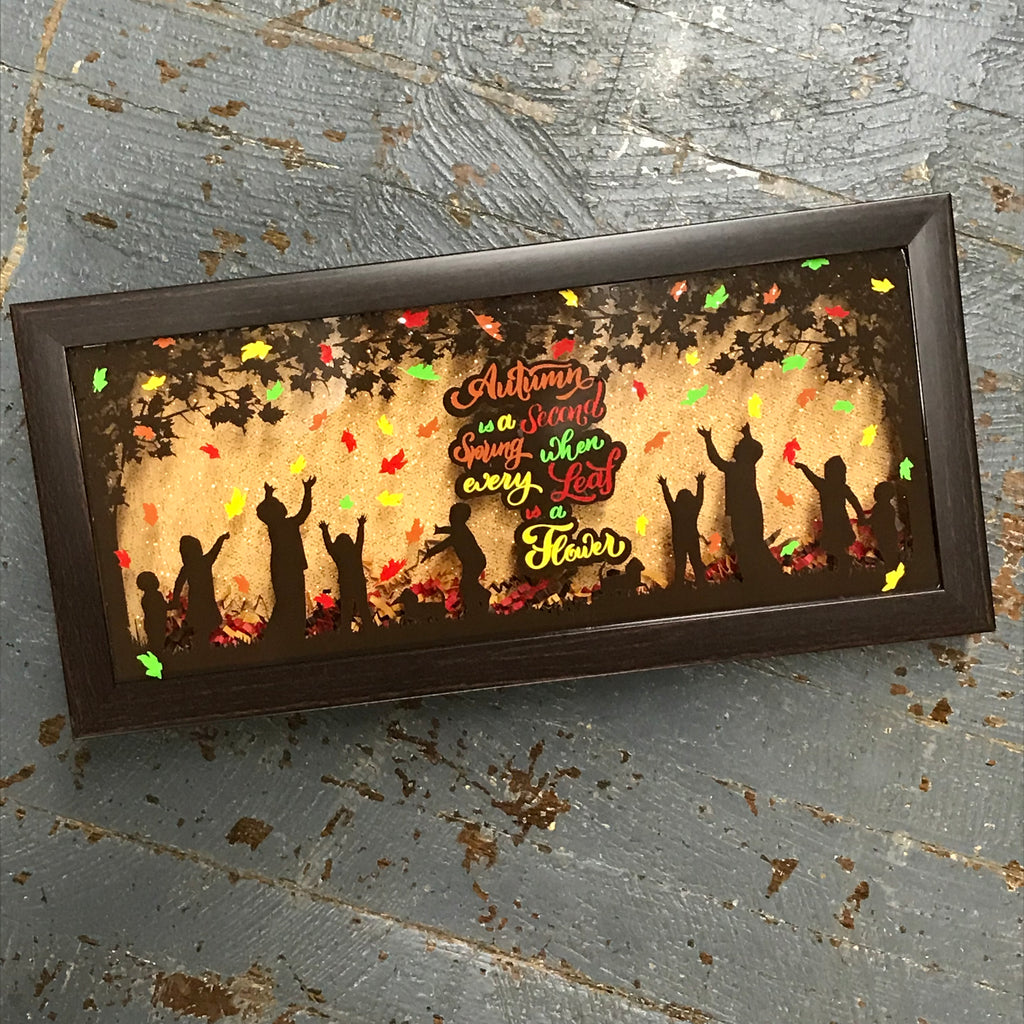 Lighted Framed Shadow Box Autumn Falling Leaves Children Play