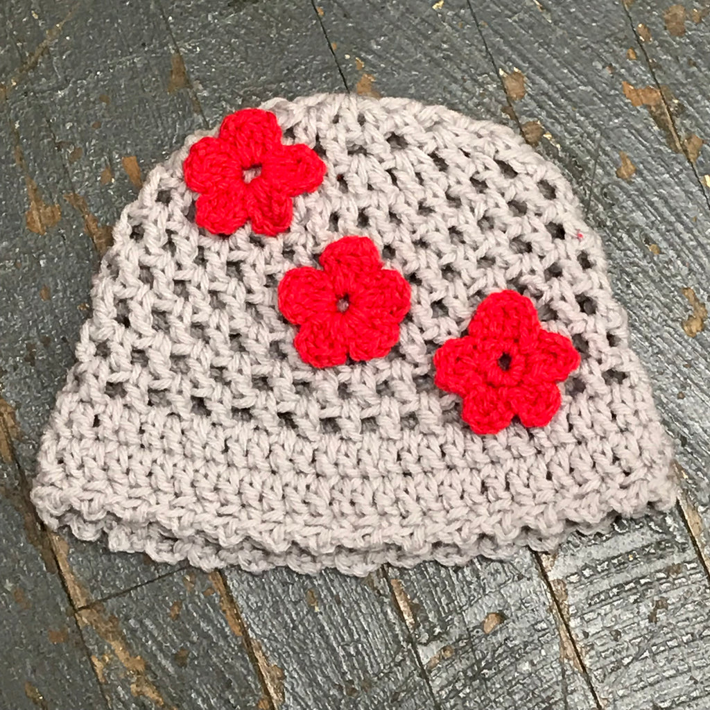 Crocheted Beanie Winter Hat Cap Grey Red Flowers