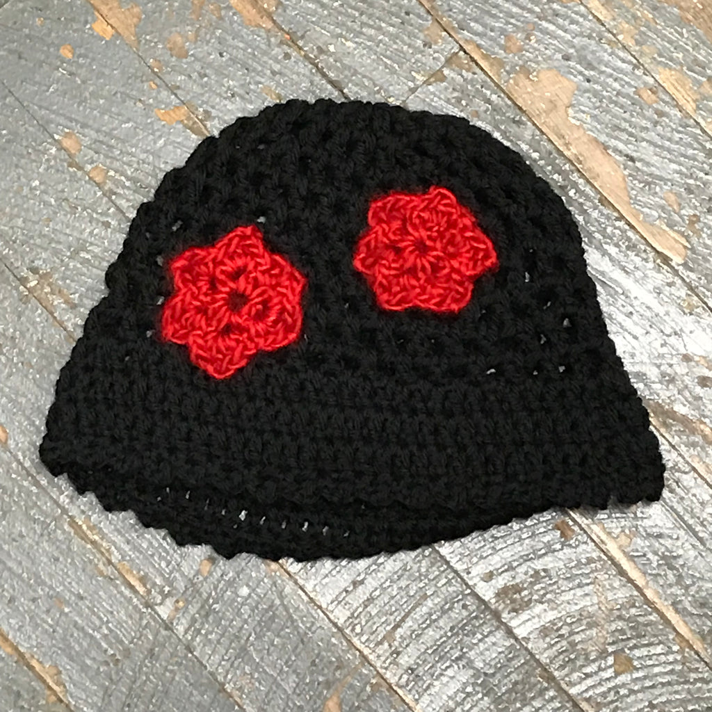 Crocheted Beanie Winter Hat Cap Black Red Flowers
