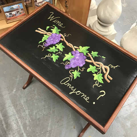 Hand Painted Wooden Grape Wine Serving Side Lamp End Table