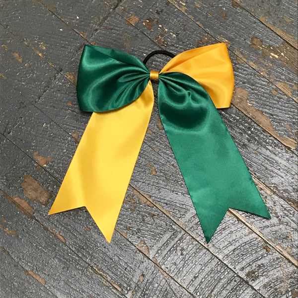 Hair Clip Ribbon Headband Cheer Team Spirit Big JoJo Bow Green Yellow